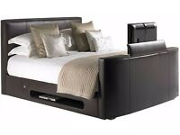 Mandelin Leather Bedstead 5ft With TV 2 Tone Brown And Black 5FT King Size