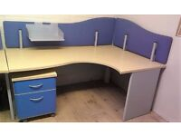 FILING CABINET & LARGE BEECH ERGONOMIC DESKS OFFICE / STUDENT DELIVERY AVAIL. RRP £310 B22