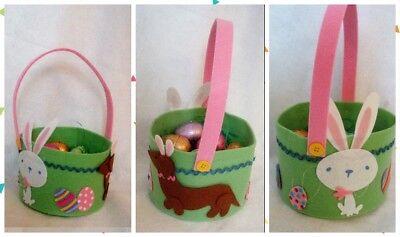 Dachshund Felt Red Brown Green all Felt Easter Basket Gift Basket Bunny & Eggs
