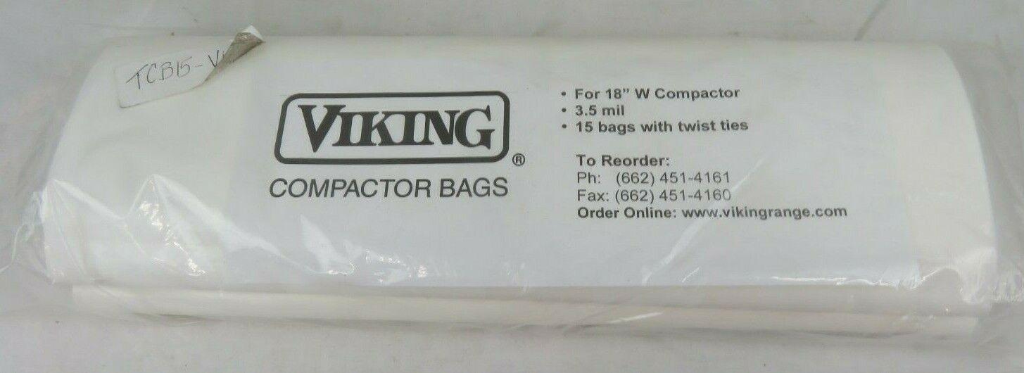 "Viking 18"" Trash Compactor 18 Pack Bags 3.5mil"