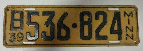 Vintage 1939 Minnesota License Plate Tag B 536-824 Antique MN