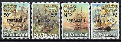 """ST VINCENT SAILING SHIPS MNH SET WITH """"SPECIMEN"""" OVERPRINT (SG#656-59)"""
