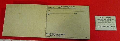 DR JAMES W HOSE ST ROCH CLINIC PRESCRIPTION PAD COPELANDS PHARMACY MEMPHIS LABEL