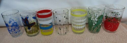 7 Vintage Swanky Swigs Juice Glasses - 7 Different Designs - Mixed Lot