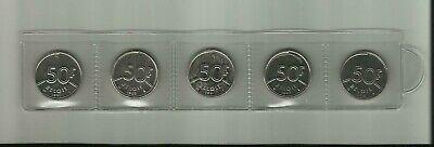 Belgique: 5 gelopen munten 50 Bfr. koning Boudewijn 1987 - 1989 - 1990 - 1992