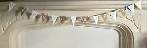 MERRY CHRISTMAS WOODEN GARLAND GOLD WHITE RIBBON FLAG STYLE DECORATION 108 cm