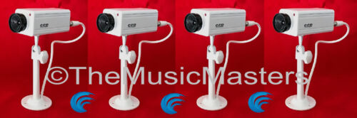 4X Fake Dummy Simulated Decoy SECURITY CAMERA Surveillance CCTV Red Flashing LED