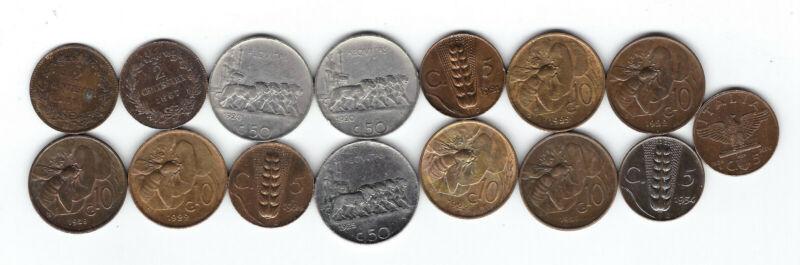 18. ITALY WORLD COINS: 15x MIXED DENOMINATIONS, 1861, 1920