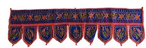 Blue Indian embroidered toran door valances wall hanging Elephant Home Decor