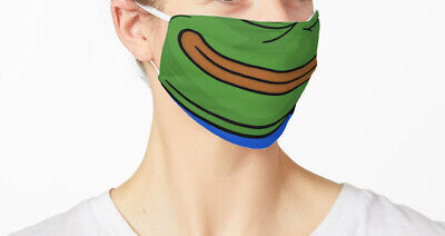 Pepe The Frog Smile Fabric Face Mask, Funny Meme Reusable Washable Cover Masks