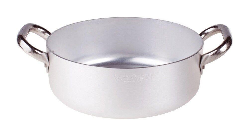 Pentole Agnelli casseruola bassa alluminio ALMA106 2 maniglie inox VARIE MISURE