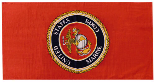 Marines USMC United States Marine Corps Emblem Red 30 x 60 Beach Towel (Cotton)