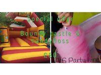 Bouncy castle, chocolate fountain, Candyfloss, wedding cakes, wedding cake, fruit display, cupcakes