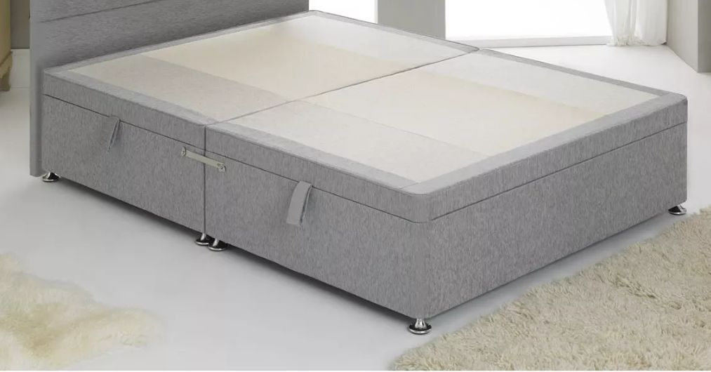 Double divan bed with 4 drawer storage wall headboard for Double divan bed with slide storage