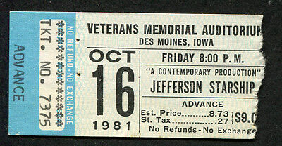 1981 Jefferson Starship concert ticket stub Des Moines Modern Times  Miracles