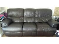 Brown Leather 2 and 3 Seater recliner sofas