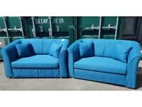 EX DISPLAY NEW Designer 2 x 2 Seater Sofa Set in Blue DELIVERY AVAILABLE