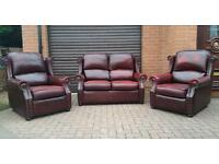 Chesterfield style, leather, Thomas Lloyd 3 piece suite. EXCELLENT CONDITION! BARGAIN!