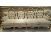 Stunning Floral Carved Italian Vintage 5 Piece Sofa Suite + Full Table Set