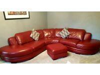 Luxury Italian Leather Deep Red Corner Sofa & Large Footstool