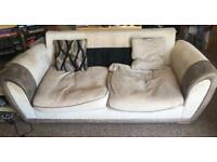 Fawn coloured 3 seater sofa
