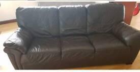 3 & 2 seater brown sofa
