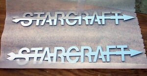 STARCRAFT BRUSHED STAINLESS STEEL EMBLEM BADGE BOAT LOGO - 8 Designs (1 Pair)