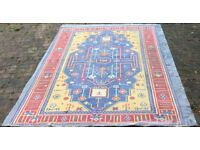 Large Hand Made Indo Dhurrie Rug/Carpet - Stonewashed Cotton 9x12 ft: Blue/Yellow/Red