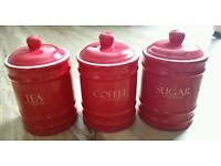 Red Tea Coffee Sugar Storage Canisters