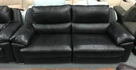 2x Black Leather 3 seater sofas