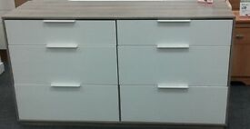 Large Chest of Drawers - Wood Effect Top and SIx White Drawers.