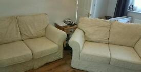 Pair of 2 Seater Sofas!! Cotton Fabric, Excellent Condition!!!
