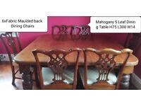 VICTORIAN MAHOGANY DINING ROOM TABLE, CHAIRS, CLOCKS