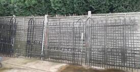 2 X TWO PAIRS OF VERY HEAVY WROUGHT IRON GATES PLUS MATCHING SINGLE GATE & 1 X RAILING