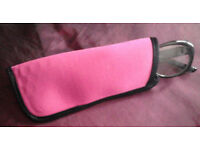 New Pink with Black Trim Soft Glasses Case/Pouch.[17cmx7cm]