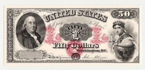 BEP Proof Print or Intaglio of Face of 1874 $50 Legal Tender Note U.S. Note