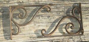 set of 2 antique style Cast Iron Decorative Scroll Shelf Brackets #08S/03