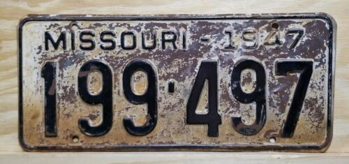 "🐾 1947 MISSOURI ""PASSENGER"" LICENSE PLATE (73 YEAR OLD PLATE)"