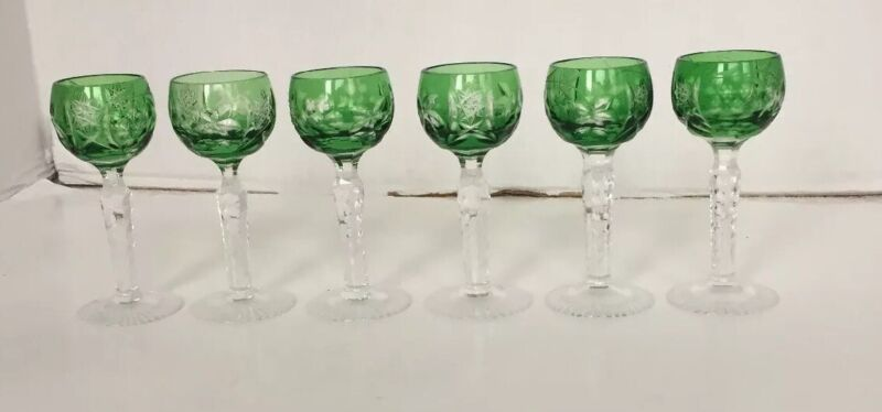 Crystal Cordials 6 Green Cut To Clear Apertif Glasses Goblets Grapes