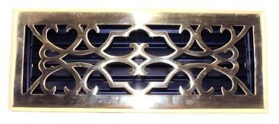 Brass Finished Elegans Victorian 4 x 12 Brass Floor Register 4x12 Victorian Floor Register