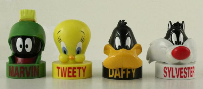 Looney Tunes Cartoon Bubble Gum Candy Heads 4PC Tweety Daffy Marvin Sylvester