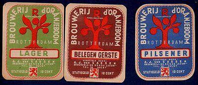 3 OLD ORANJEBOOM - BROUWERIJ DE ROODE LEEUW LABELS FROM THE NETHERLANDS