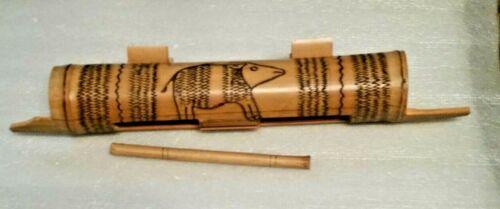 Australian Aboriginal Percussion Musical Instrument, woodburned animal design