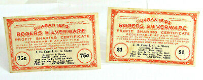 2-1930s ANTWERP OHIO IGA Store Silverware Certificates, J.H. Carr Paulding Co Oh