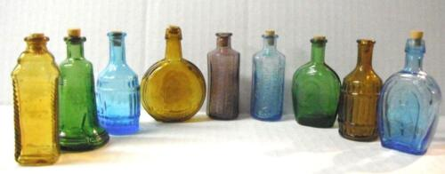 9 Miniature Colored Bottles  1 Error  Bitters Presidents Horseshoe Liberty Bell