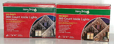 Lot of 2 Merry Brite High Density 300 Count Icicle Lights Clear Bulb Very Bright