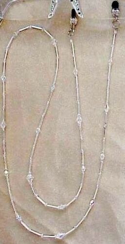 BLING EYEGLASS CHAIN WITH FINE EUROPEAN CRYSTALS ! CHAIN ONLY SILVER OR GOLD !