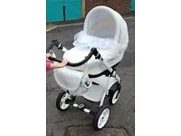 Bebeboo 3 in 1 pram, white with blue trim, extras included!
