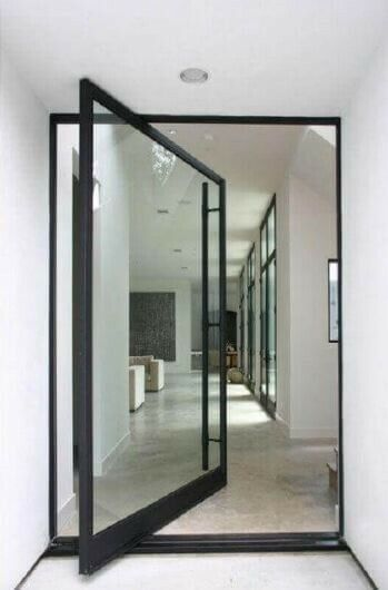 Iron Pivot Door, Matte Black, Clear Glass, Handle and deadbolt Included