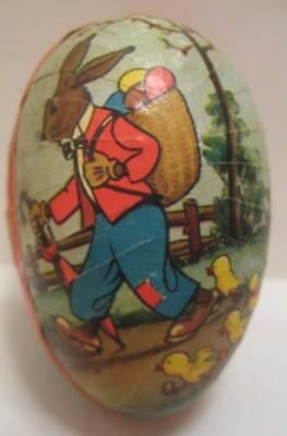 Old German Cardboard Easter Egg Candy Container Dressed Rabbit Hiking w/ Chicks